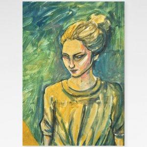 Obra Moça sobre Verde Fine Art exclusiva da Céu Galeria de Arte